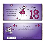 Personalised Purple Ronnie Age Young Female Chocolate Bar for Kids Great Fun Gift for Girls and Women Birthdays Christmas