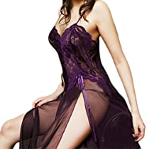 Newest Women Sexy Pajamas Lingerie See-through Dress G-string Sleepwear (Dark purple)