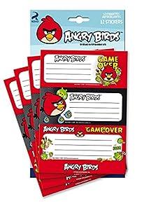 Angry Birds - Pochette 12 étiquettes Autocollantes - Fourniture Scolaire