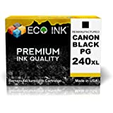ECO INK © Compatible / Remanufactured for Canon PG-240XL PG 240 XL (1 Black) Ink Cartridges for PIXMA MG2120, MG2220, MG3120, MG3122, MG3220, MG4120, MG4220, MX372, MX392, MX432, MX439, MX452, MX512, MX522