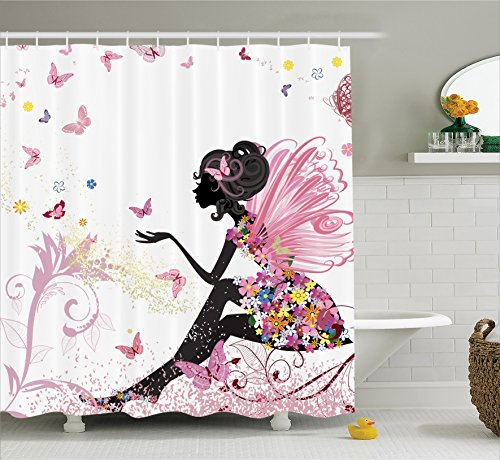 Pink Butterfly Girl with Floral Dress Flower Design Fairy Angel Wings Fae Home Accent Soft Colors Modern Designer Feminine Decor Dreamy Folklore Shower Curtain Black White (Butterfly Shower Curtains compare prices)