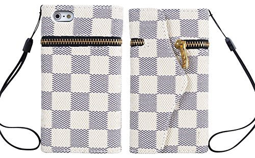 Mylife (Tm) White Checkered And Zipper Design - Textured Koskin Faux Leather (Card And Id Holder + Magnetic Detachable Closing) Slim Wallet For Iphone 5/5S (5G) 5Th Generation Itouch Smartphone By Apple (External Rugged Synthetic Leather With Magnetic Cli