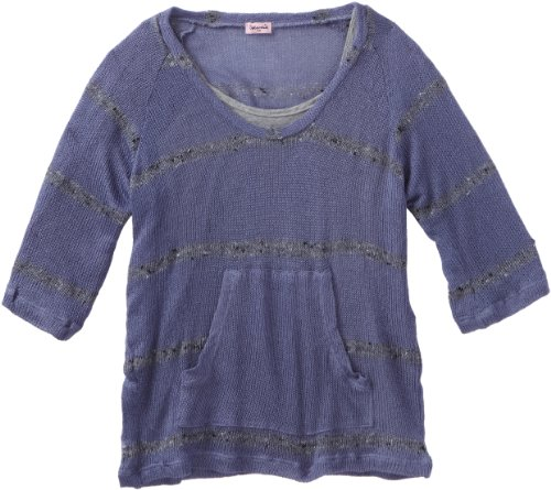 Splendid Girls 7-16 Sandstone Stripe Loose Knit Top, Atlantic, 14