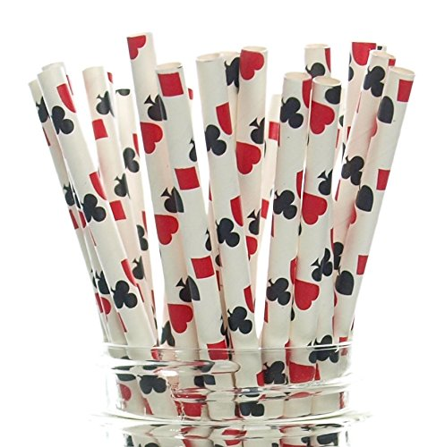 Las Vegas Game Night Casino Straws (25 Pack) - Red & Black Playing Cards Color Party Favors, Cake Pop Sticks, Gambling Polka Dot Straws - Clubs, Spades, Hearts, Diamonds Party Supplies (Las Vegas Hotel Gift Cards compare prices)