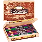 Rausch Chocoholics Holzkiste mit 12 Sticks, Edel-Bitter Schokolade, 4 Sorten, 480 g, 1er Pack (1 x 480 g)