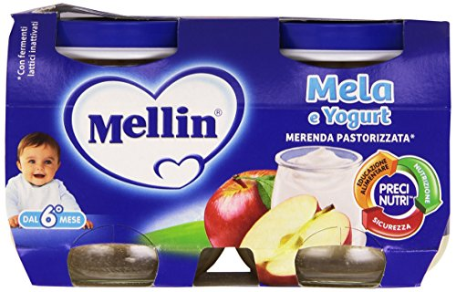 Mellin - Merenda Pastorizzata, Mela & Yogurt, 2 x 120 g - 240 g