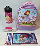 Thermos Sofia the First Double Compartment Soft Insulated Lunch Bag with Sistema Lunch Cube, BPA-free Barbie Thermos 12 Ounce Hydration Bottle, and Disney Frozen Ice Mat