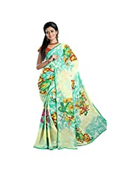 101cart Delightful Green Printed Faux Georgette,Chiffon Saree