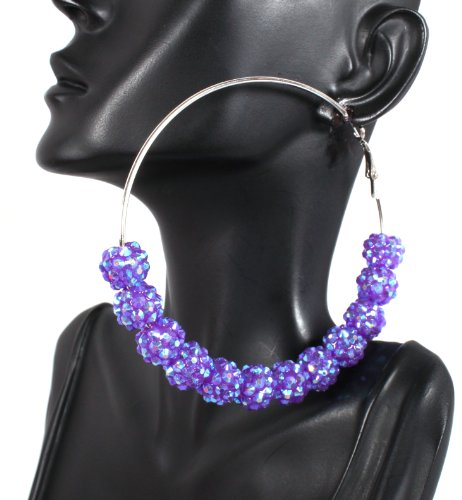 Basketball Wives Light Purple Shamballah 3 Inch Hoop Earrings with 12 Disco Balls Poparazzi