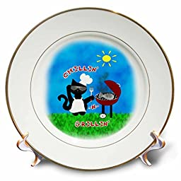 3dRose Cute black Cat Chef Chillin N Grillin Summer Barbeque Grill - Porcelain plate, 8-Inch (cp_216227_1)