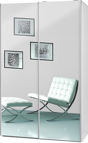 """Schwebeturenschrank """"Soft Plus Smart Typ 42"""", 120 x 194 x 61cm, Weiß/2 x Spiegel"""