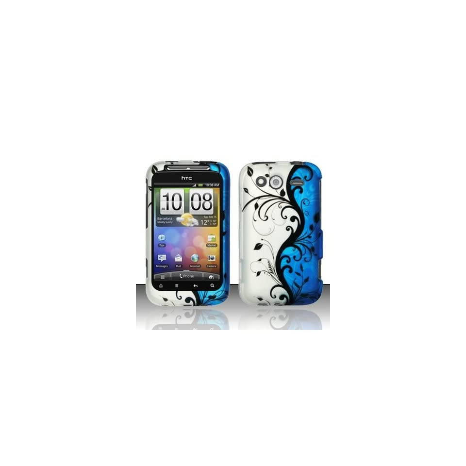 BLUE VINES Hard Plastic Matte Design Case for HTC Wildfire S / Marvel [In Twisted Tech Retail Packaging]