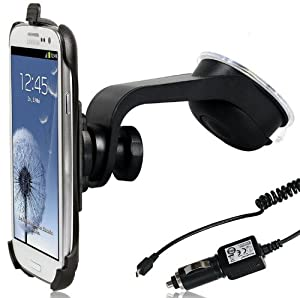 Wicked Chili DESIGN KFZ Halterung für Samsung Galaxy S3 i9300 mit QuickFix Autohalterung mit KFZ Ladekabel (vibrationsfrei, 12V, 24V)
