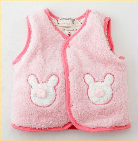 アクリルボア製ベビーベスト ベビー服 チョッキ ベビー用品出産祝いやギフトにもどうぞ (ピンク)