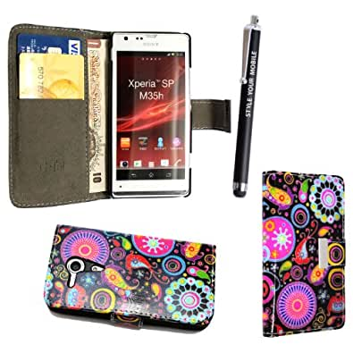 GSDSTYLEYOURMOBILE {TM} SONY XPERIA SP M35H PREMIUM QUALITY PU LEATHER MAGNETIC FLIP CASE SKIN COVER POUCH + STYLUS (Dark Circle Book Flip)