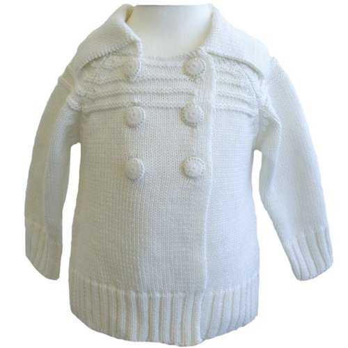 Powell Craft 100% Cotton Hand Knitted White Pram Coat 12-18m - A great baby gift!