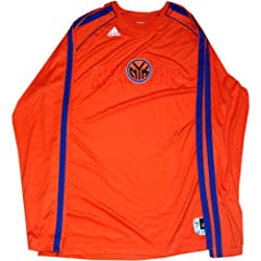 Carmelo Anthony Shirt - NY Knicks 2013 Preseason Game Used #7 Orange Long Sleeve... by Steiner Sports