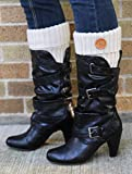 Funky Junques Rib Knit Boot Cuff with Wood Button - Ivory