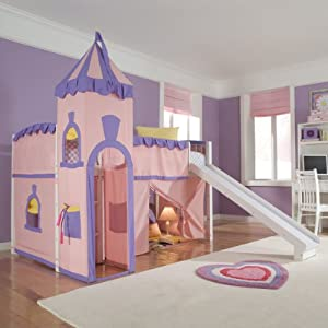 Schoolhouse Twin Princess Loft Bed w/ Slide, Perfect for Your Girls Bedroom Furniture Set from New Energy Kids