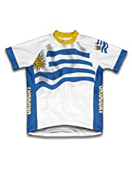 Uruguay Flag Short Sleeve Cycling Jersey for Women