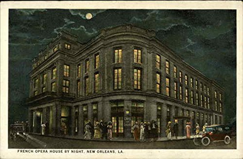 French-Opera-House-by-Night-New-Orleans-Louisiana-Original-Vintage-Postcard