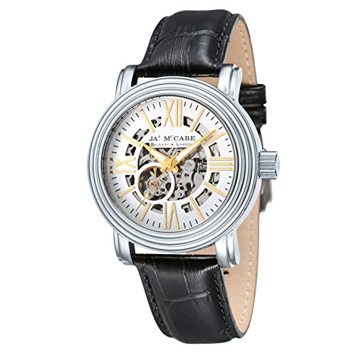 James McCabe Victory Automatic Skeleton Watch with White Dial and Black Genuine Leather Strap