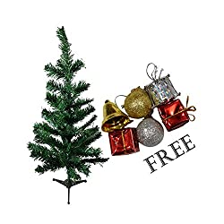 AsianHobbyCrafts Christmas Tree for Christmas Décor Size: 1 feet (approx.) free set of Tree hangings.