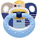 NUK Happy Kids Latex Soother 0-6 Months (Size 1) in Blue Whale Design 2 Pack