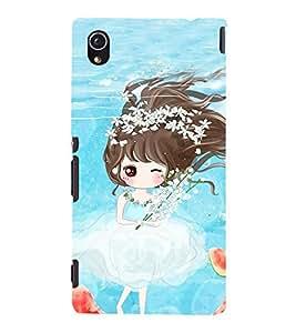 Fuson Premium Back Case Cover Cute girl with water melon With Multi Background Degined For Sony Xperia M4 Aqua::Sony Xperia M4 Aqua Dual