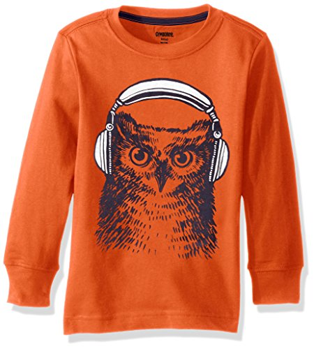 Gymboree Big Boys' Long-Sleeve Graphic Tee with Sleeve Graphic, Orange Owl, S