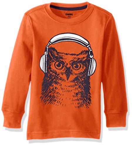 Gymboree Big Boys' Long-Sleeve Graphic Tee with Sleeve Graphic, Orange Owl, S