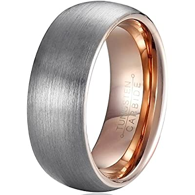 MNH Mens 8mm Tungsten Carbide Wedding Band Rose Gold Plated Brushed Matte Finish Rings Size 7-13