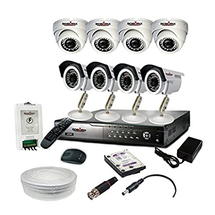 ROBORIX 4B4D-HD1W90K 8-Channel Dvr, 4(720P) Dome, 4(720P) Bullet CCTV Cameras (With Accessories)