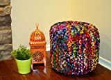 "Pouf Ottoman Multicolor Cylindriical Shape Hand Knitted Dori ottoman Cable Style Cotton Braided Rope Floor Ottomans Comfortable Seat Footstool 19""x 20"" By MystiqueDecors"