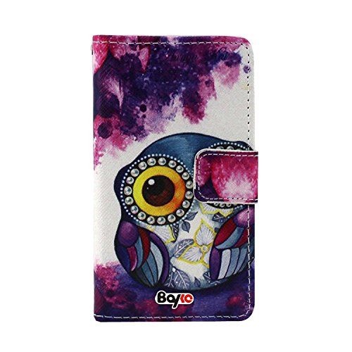 Bayke Brand / Apple Iphone 4 & Iphone 4S Fashion Pu Leather Wallet Flip Protective Skin Case With Stand With Credit Card Slots & Holder (Cute Cartoon Owl Pattern Design Print 01)