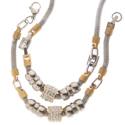 Two Tone Clear Crystal Mesh Designer Style Necklace and Bracelet Set