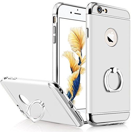 iPhone 6 Case, iPhone 6S Case, NOKEA 3 in 1 Combo Ultra Thin Hard Protective Luxury Case Cover+Rotating Ring Kickstand for iPhone 6/6S 4.7 inch (Silver) (Iphone 4s Cases Sewing Machine compare prices)
