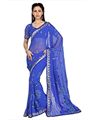 Designersareez Women Light Blue Faux Georgette Saree With Unstitched Blouse (1652)