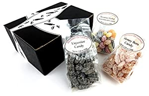 Hermann the German Bavarian Hard Candy 3-Flavor Variety: One 5.29 oz Bag Each of Liquorice, Honey Bees, and Bavarian Herbal Assortment in a BlackTie Box (3 Items Total)