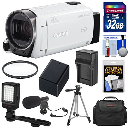 Canon Vixia HF R700 1080p HD Video Camcorder (White) with 32GB Card + Battery & Charger + Case + Tripod + LED Light + Microphone + Kit