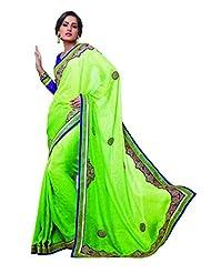 Sareez Parrot Green Color Jacquard Saree.