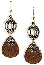 Jody Coyote Earrings Sienna Collection QM976-01 gold dangle