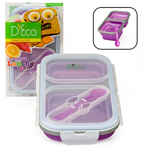 Collapsible Lunch Box Silicone Kids Food Storage with Two Compartments In Purple By DEco