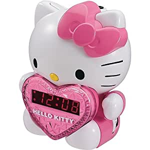 Hello Kitty AM/FM Projection Alarm Clock Radio with Battery Back-up