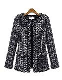xiaoming Women's Elegent Long Sleeve Collarless Bomber Tweed Jacket Coat Black