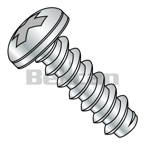 Slotted Drive Pack of 10 Hex Washer Head Type AB 18-8 Stainless Steel Sheet Metal Screw #10-16 Thread Size Plain Finish 2 Length