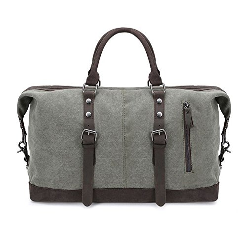 Borsa a tracolla Mens viaggio Tote oversize tela pelle Trim Casual Borsone Weekend Bag Army Green
