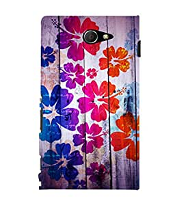 printtech Floral Pattern Wooden Back Case Cover for Sony Xperia M2 Dual D2302::Sony Xperia M2