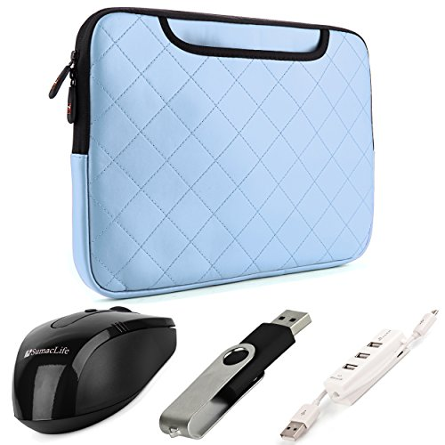 Sumaclife Gummy Quilted Leather Sleeve For Samsung Ativ Book 2 / Book 4 / Book 6 / Book 8 15.6-Inch Laptops (Sky Blue) + Black Wireless Usb Mouse + Black 4Gb Thumbdrive + Universal 3 Port Usb Hub And Micro Usb Cable