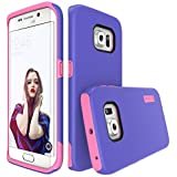 TOTU Heavy Duty Dual Layer Protective Case Hybrid Bumper Scratch Resistant Shock-absorbing Defender Carrying Case for Samsung Galaxy S6 Edge - Indigo Violet/Light Rose